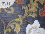 Tissu 100% de sofa de jacquard de polyester avec à l'extérieur le Chenille par 400GSM