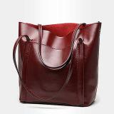 Heißer Verkaufs-modische einfache Formtote-Beutel-Frauen-echtes Leder-Handtaschen-Großhandelspreisguangzhou-Fabrik Emg4909