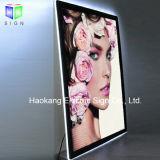Frameless slim LED boîte à lumière magnétique en acrylique avec Crystal signe de châssis pour l'image de la publicité