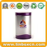 円形の金属の茶缶、茶ボックス錫