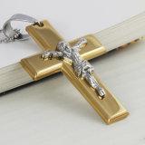 宝石類のイエス・キリストの十字のネックレスAMPのペンダントの金カラー大きいステンレス鋼の十字の吊り下げ式のネックレスの人の宝石類