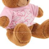 Os ursos do delicado do luxuoso do urso da peluche de Brown desgastam o t-shirt cor-de-rosa
