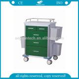 Carretilla médica del carro de acero del hospital de la capa de la potencia AG-GS002