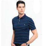 Hommes à rayures à manches courtes 95% coton5% Spandex Polos avec broderie Logo
