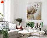 Deux parties neuves peinture à l'huile de moutons et de vache de chiot d'illustration de mur
