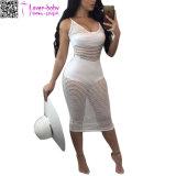 Сексуальная планка спагеттиа выдалбливает вне твердое платье L51406 Boho макси