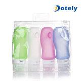 Botellas del cosmético del embalaje del silicón del recorrido de la loción de 4 paquetes
