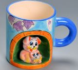 Hot Sale personalizado Cartoon 3D impresso Ceramic Animal Copos Canecas