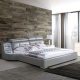 رماديّ لون جلد سرير لأنّ غرفة نوم إستعمال ([فب8128])