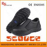 Chaussures de travail en cuir et en cuir résistant à l'eau et à l'eau sans dentelle (RS5853)