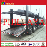 Vehículo doble del transporte del acoplado del portador de coche del cilindro hidráulico de los árboles