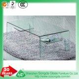 10 mm Nouveau design en verre clair refoulées Table basse en verre