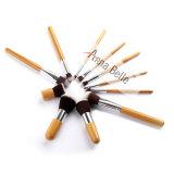 Balais cosmétiques en bois de vente chauds de base de fard à paupières de brosse de lecture de renivellement de Kabuki du traitement 11PCS