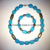 Semi бирюза драгоценного камня естественная кристаллический отбортовала комплекты ювелирных изделий ожерелья