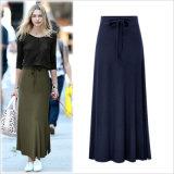 Разделить с поясом на резинке долго трикотажные прямой юбки для женщин одежда