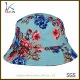 卸し売り明白なストリングが付いている花によって印刷されるバケツの帽子