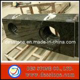 Encimera de piedra natural del cuarto de baño del granito con los fregaderos dobles (DES-C016)