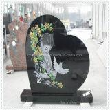 Monumento preto e branco de lápide de granito com coração