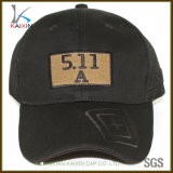 Chapéu barato do boné de beisebol do logotipo de couro não organizado preto da correção de programa do Twill do algodão