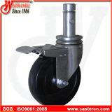 5 Zoll-harter Gummi-Baugerüst-Fußrollen mit Gesamtverschluss-Bremse