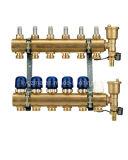 6 ramo de coletor de latão para sistema de aquecimento de piso