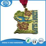 Medalla deportiva brillante de chapado en oro