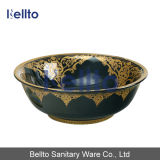 Peinture à la main noire à l'éviers en porcelaine avec bordure d'or (C-1054B)