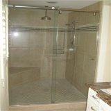 Vidro temperado / Vidro de porta interior para sala de banho de 10m2 com furos e bordos polidos