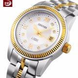 Kundenspezifische Firmenzeichen-exakte Frauen-weiße große Vorwahlknopf-Handgelenk-Edelstahl-Uhr