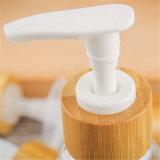 Pompe cosmétique de distributeur de lotion avec le chapeau en bambou