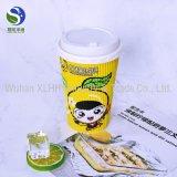 Firma-Firmenzeichen gedrucktes Wegwerfkräuselung-Wand-Kaffee-Papiercup mit Kappen