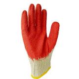 Guanti rivestiti del cotone della palma liscia rossa del lattice