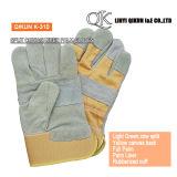 K-305 Russet коровы Split полного упора для рук с резиновым покрытием гильзы манжеты Canvas назад кожаные рабочие перчатки