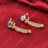 Baumeln handgemachtes Gold überzogener Ineinander greifen-Stein Ohrring für Mädchen