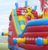 Barco Pirata de colores personalizados inflable con tobogán y Bouncer
