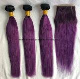 волосы Ombre выдвижений человеческих волос ранга 8A сотка красные индийские