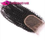 Fechamento Curly Kinky do laço do cabelo humano de Remy da onda