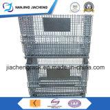 El apilado y almacenamiento de la canasta de metal plegable con ruedas