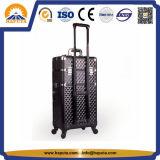 Cassa di alluminio divisibile del carrello dello studio di trucco del diamante nero di caso (HB-3318)