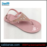 Фиолетовый Flip флоп желе обувь для женщин с цветами и Pearl украшения