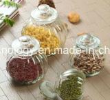 La comida de tarro de vidrio con tapa de acero inoxidable