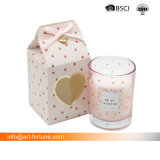 De Gebemerkte Kaarsen van de Dag van valentijnskaarten Aroma in de Gouden Foiled Kruik van het Glas met de Decoratieve Doos van de Gift
