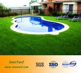 Яркие цвета ландшафт поддельные травы, по месту жительства, бассейн на крыше