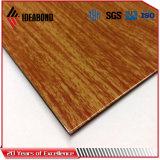 Painel composto de alumínio de madeira revestido Certificated ASTM do PE popular de Ideabond