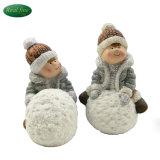 Artesanía de cerámica de los niños y niñas figurillas de guardería infantil de Navidad