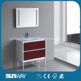 Heißer Verkauf europäischer MDF-Glasbadezimmer-Schrank mit Spiegel