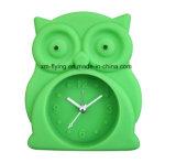 卸し売り動物のフクロウの形の居眠りの黙秘者のシリコーン小型旅行表の目覚し時計