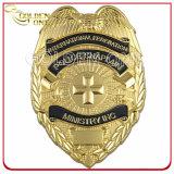 Zoll 3D gravierte Gold überzogenes Polizei-Geistlichespin-Abzeichen