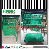 Las jaulas de rodillos de almacenamiento de metal plegable con ruedas y la cubierta térmica
