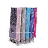 Long Tassel Jacquard ShawlのFashion Cotton Polyester Scarf女性